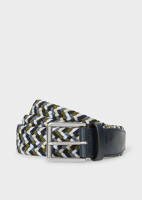 Paul Smith Men's Navy And Green Braided Belt