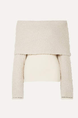 3.1 Phillip Lim Off-the-shoulder Ribbed-knit And Boucle Sweater - Beige