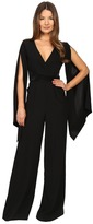 Gabriela Cadena - Crepe Jumpsuit with Satin Waist and Cape Sleeve Women's Jumpsuit & Rompers One Piece