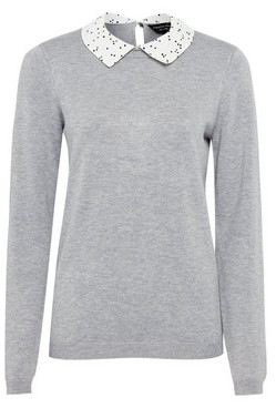 Dorothy Perkins Womens Grey Spot Print Collar Jumper, Grey