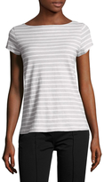 Eileen Fisher Cotton Striped Boat Neck Tee