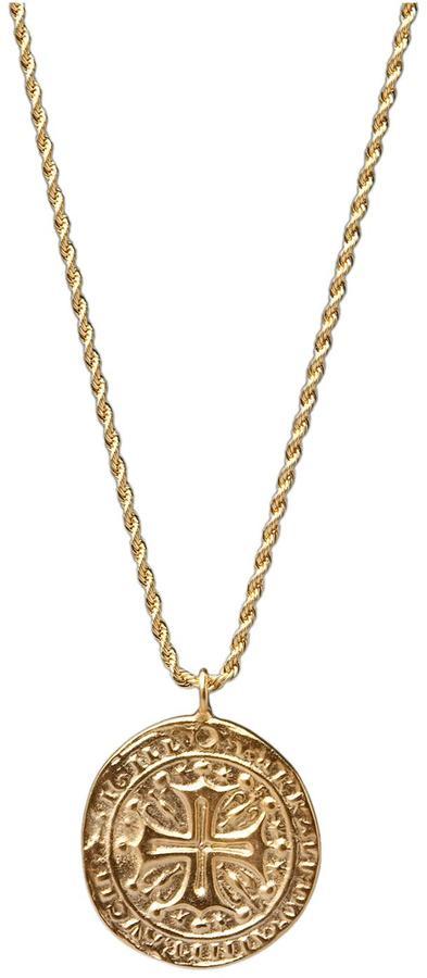 Kenneth Jay Lane Gold Cross Medallion Necklace