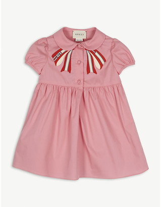 Gucci Pleated bow cotton-blend dress 6-36 months
