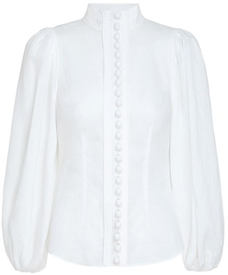 Zimmermann Brightside Piped Body Shirt in Pearl
