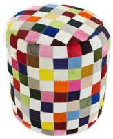 Colorful Brazilian Cowhide Patchwork Ottoman Cover, 'Carnaval Chess'