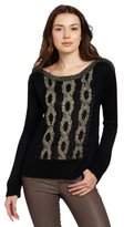 Aryn K Women's Cable Knit 2 Tone Sweater