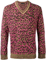 Marc Jacobs v-neck leopard sweatshirt - men - Linen/Flax/Cashmere/Wool - XS