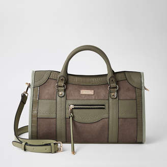 River Island Khaki zip front cross body tote bag