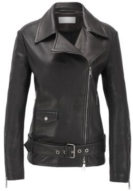 BOSS Relaxed-fit jacket in mixed leathers with asymmetric zip