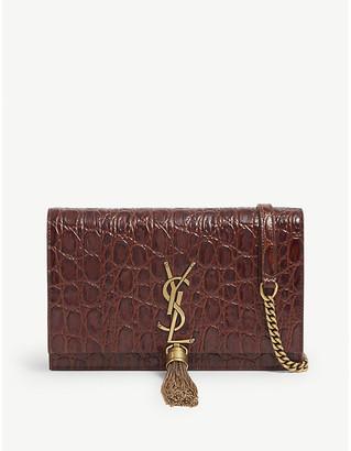 Saint Laurent Kate monogram crocodile-embossed leather wallet-on-chain