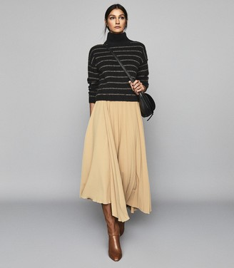 Reiss Cammie - Wool Blend Striped Jumper in Black/camel
