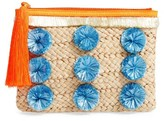 Milly Pompom Straw Clutch - Brown