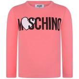 Moschino MoschinoGirls Fuchsia Logo Print Jersey Top