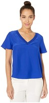 Milly Silk T-Shirt w/ Knit Trim (Cobalt) Women's Clothing