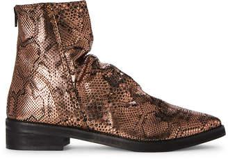 Free People Bronze Amarone Snakeskin-Effect Metallic Ankle Boots