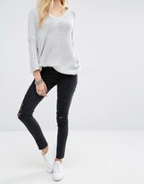 Noisy May Lucy Ankle Grazer Jeans with Rips & Raw Hem