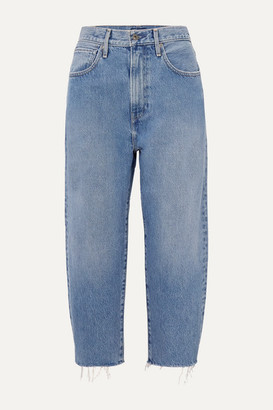 Levi's Made & Crafted Barrel Cropped Distressed High-rise Wide-leg Jeans - Mid denim