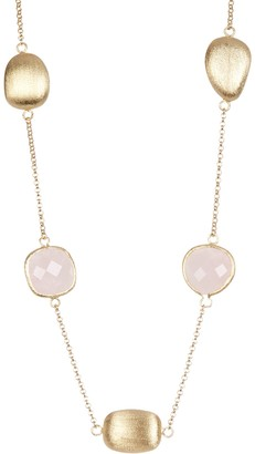 Rivka Friedman 18K Gold Clad Faceted Rose Quartz Satin Pebble Station Necklace