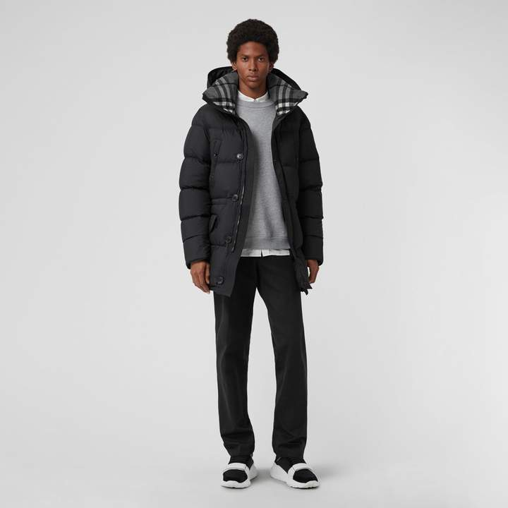 Burberry Check Detail Down-filled Hooded Puffer Coat