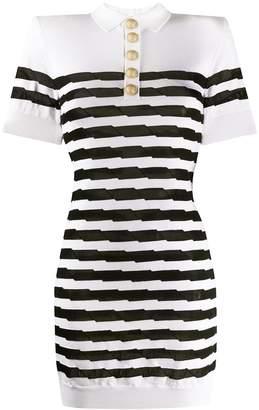 Balmain striped knit polo dress