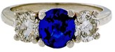 Peter Suchy Platinum 1.25ct Sapphire and Diamond Engagement Ring Size 5.5