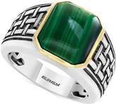 Effy Men's Malachite (13 x 11mm) Ring in Sterling Silver and 14k Gold