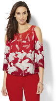 New York & Co. Cold-Shoulder Blouse - Feather & Bird Print