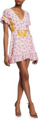 All Things Mochi Dory Printed Short-Sleeve Wrap Dress