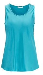 HUGO BOSS Regular Fit Top With Scoop Neck In Stretch Silk - Turquoise