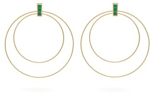 Ileana Makri Double Orbit Emerald & 18kt Gold Earrings - Yellow Gold