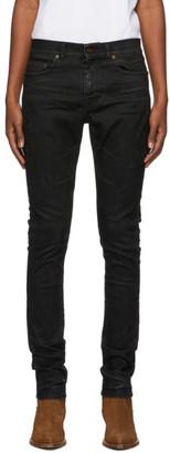 Saint Laurent Black Lightly Coated Skinny Jeans