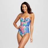 Social Angel Women's Shibori Maillot Waistband One Piece Swimsuit - Multi-Colored