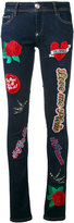 Philipp Plein 'Teddy Boss' patched skinny jeans