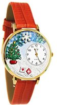 Whimsical Watches Women's G1220002 Christmas Tree Red Leather Watch