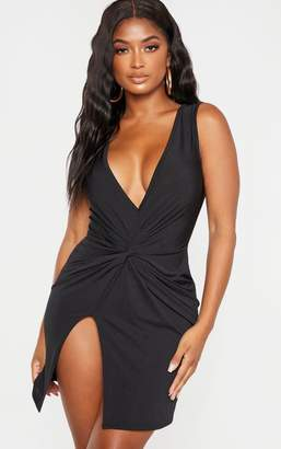 PrettyLittleThing Shape Stone Slinky Wrap Detail Bodycon Dress