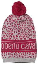 Roberto Cavalli Pink Leopard and Logo Pom Pom Beanie