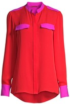 Elie Tahari Lexi Bi Color Silk Blouse