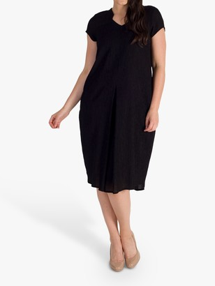 Chesca Notch Neck & Pleat Dress, Black