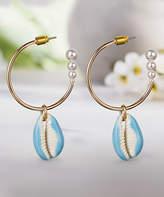 Steve Madden Women's Earrings Blue - Blue & Goldtone Sea Shell Hoop Earrings