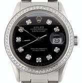 Rolex Stainless Steel Datejust Oyster w/Black Diamond Dial Watch