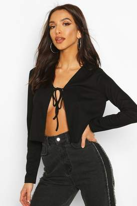 boohoo Ribbed Tie Front Cardigan