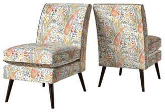 """Mercury Row Genevieve 22"""" Side Chair Fabric: Coral Red Multi Paisley"""