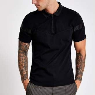 River Island Mens Black slim fit suedette blocked polo shirt