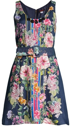 Johnny Was Elgin Floral Chambray Belted Flare Dress