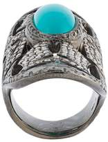 Loree Rodkin turquoise & diamond bondage ring