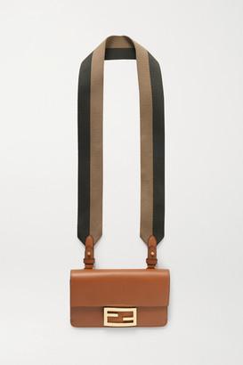 Fendi Baguette Canvas-trimmed Leather Shoulder Bag - Brown