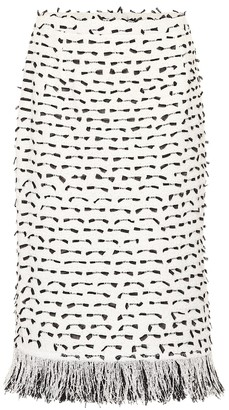 Oscar de la Renta Cotton-blend tweed skirt
