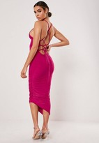 Missguided Slinky Lace Up Asymmetric Ruched Midi Dress