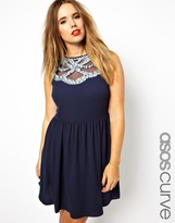Asos Exclusive Skater Dress with Sequin Neck