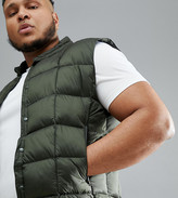 Asos 4505 4505 Plus packable vest with quilting in khaki